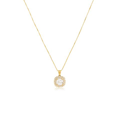 Collar Oro 18kt Doble Riel  Circón