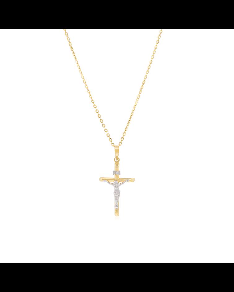 Collar Oro 18kt Cruz Bicolor
