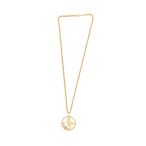 Collar Oro 18kt Mariposa Circón Tricolor