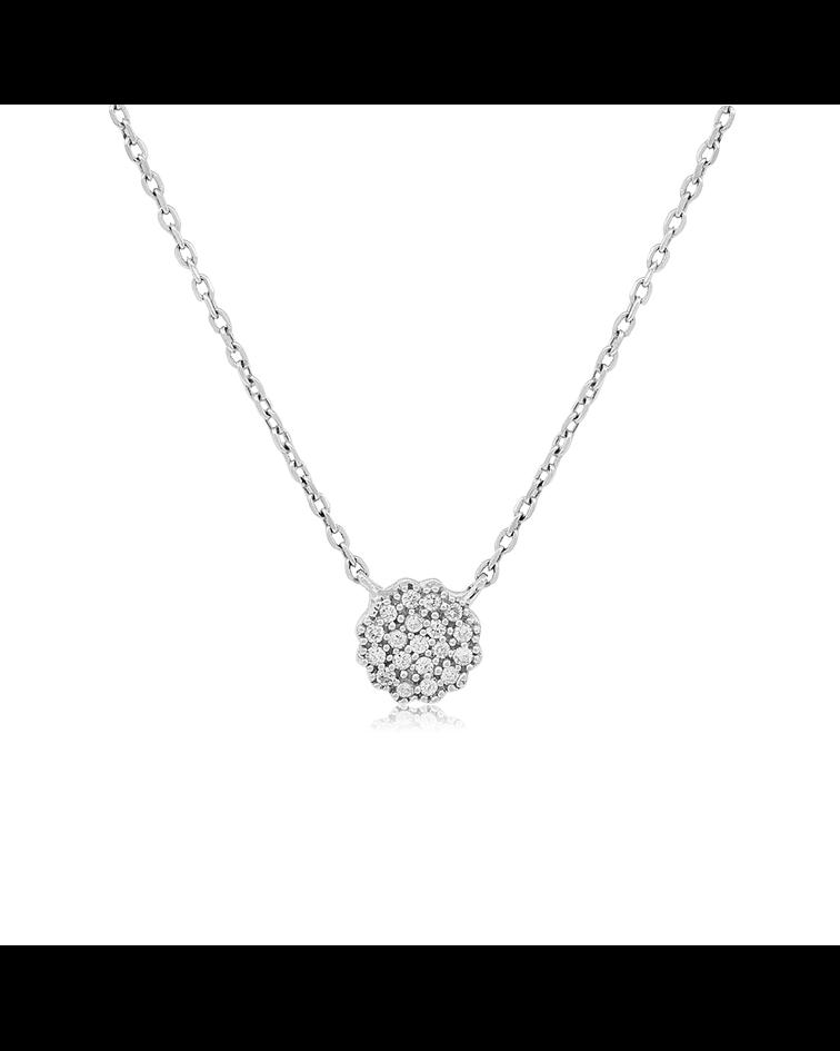 Collar Oro Blanco 18kt Circulo Diamantes.