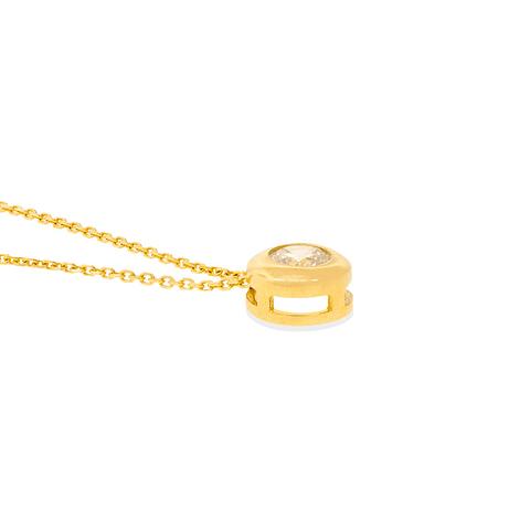 Collar Oro 18kt Circón Punto de Luz 4 mm