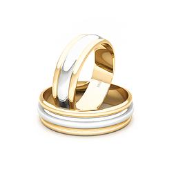 Argollas Oro 18kt Bicolor KZ Ingles 5,5mm Oro Amarillo.