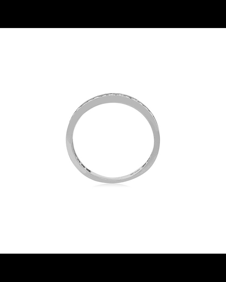 Anillo Oro Blanco 18kt Circón en Riel
