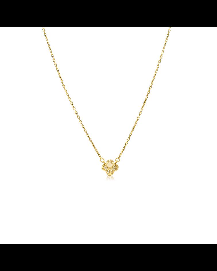 Collar Oro 18kt Flor Circón