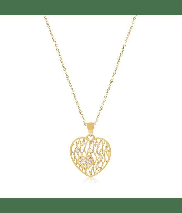 Collar Oro 18kt Corazón  Circón
