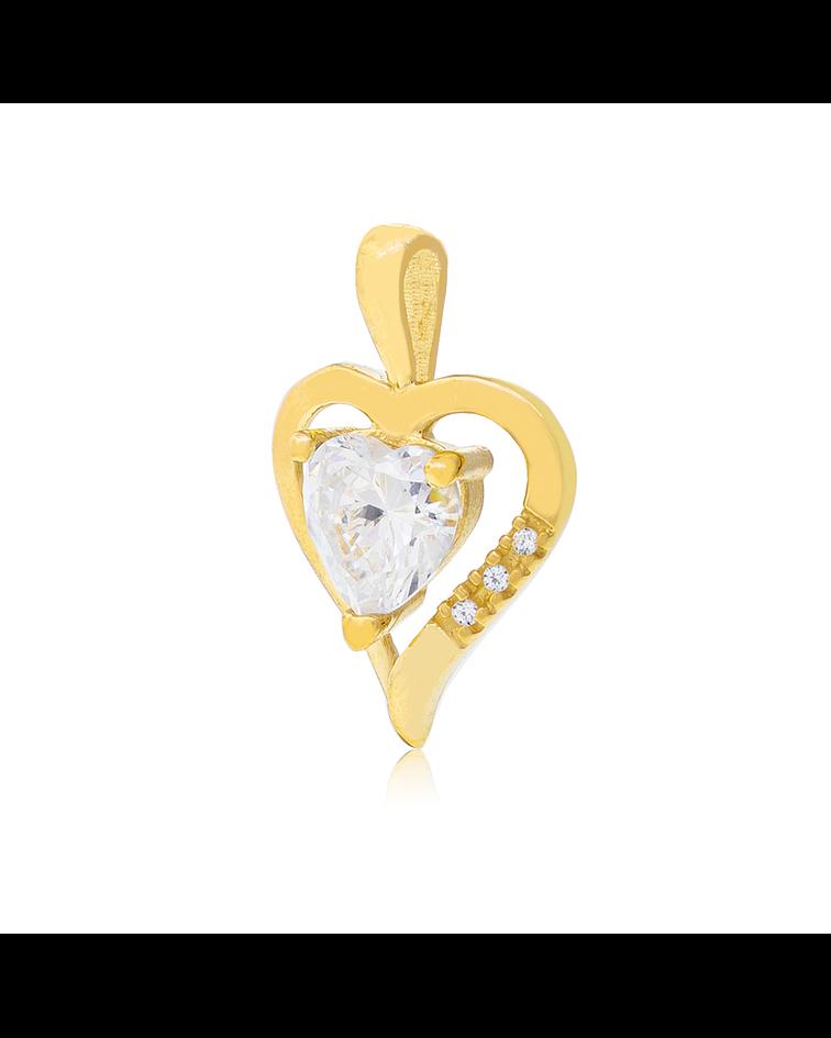 Colgante de Oro de 18 Kt Circón Corazón.