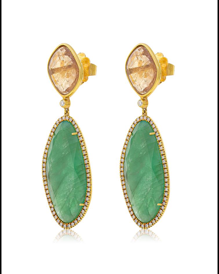 Aros Oro Amarillo 18Kt  Dimantes Esmeralda y Topazio
