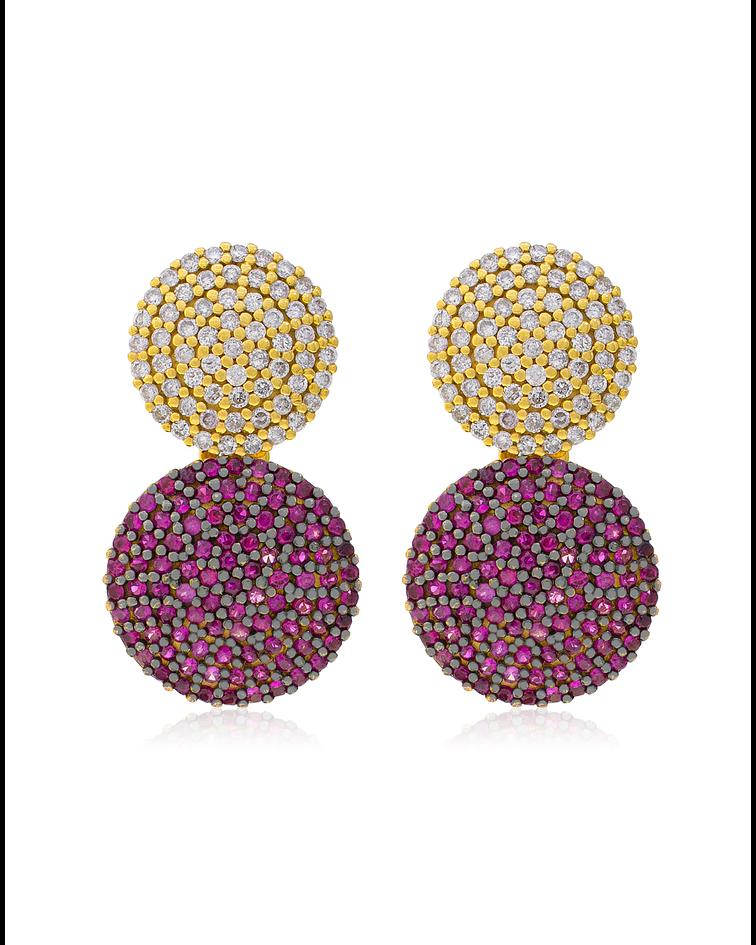 Aros Oro Amarillo 18Kt Diamantes y Rubi