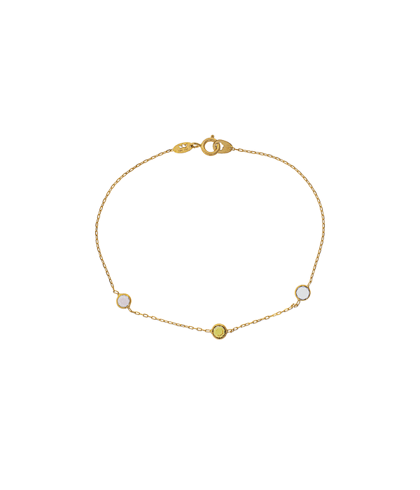 Pulsera Oro Amarillo 18kt,Piedras colores