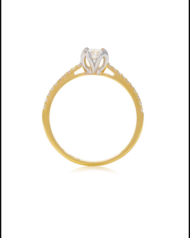 Anillo Oro amarillo 18kt solitario medio cintillo Circon