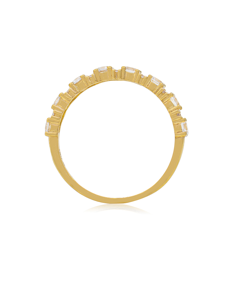 Anillo Oro Amarillo 18 kt medio cintillo circones
