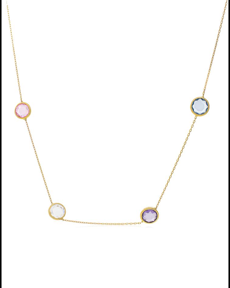 Collar oro amarillo 18kt  Piedras colores