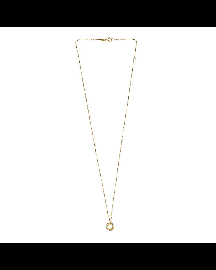Collar oro amarillo 18kt, Rosa Bicolor circones