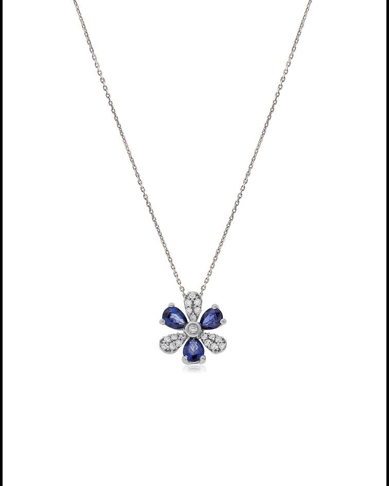 Collar Oro blanco 18kt Flor Diamantes y Zafiro Natural