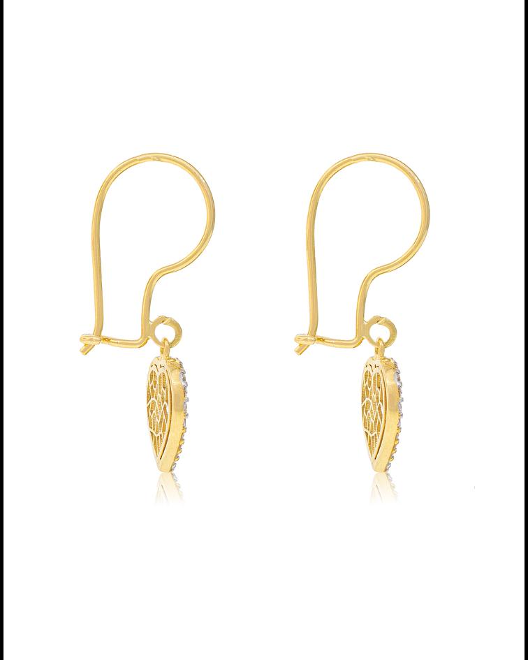 Aros de Oro Amarillo 18 Kt Modelo Corazon Colgantes con Circones