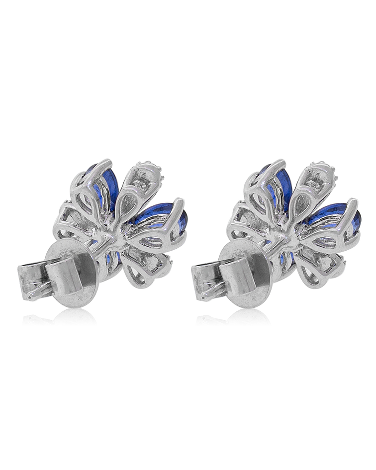Aros Oro Blanco 18kt Diamantes Zafiros Flor