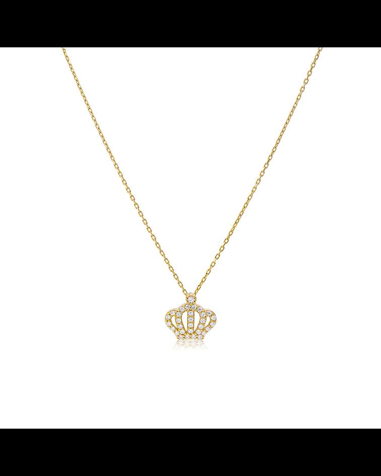 Collar Oro Amarillo 18kt Corona Con Circones