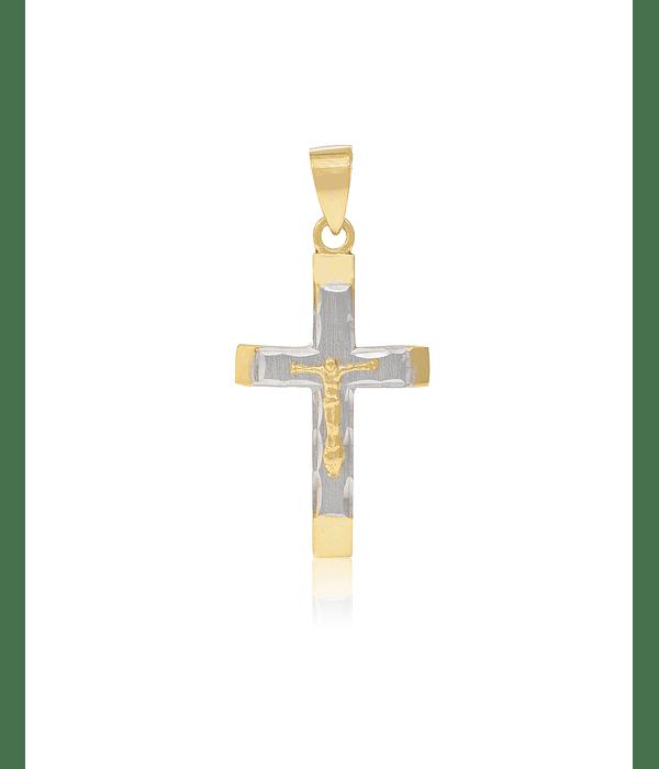 Colgante de Oro 18 kt Crucifijo Bicolor