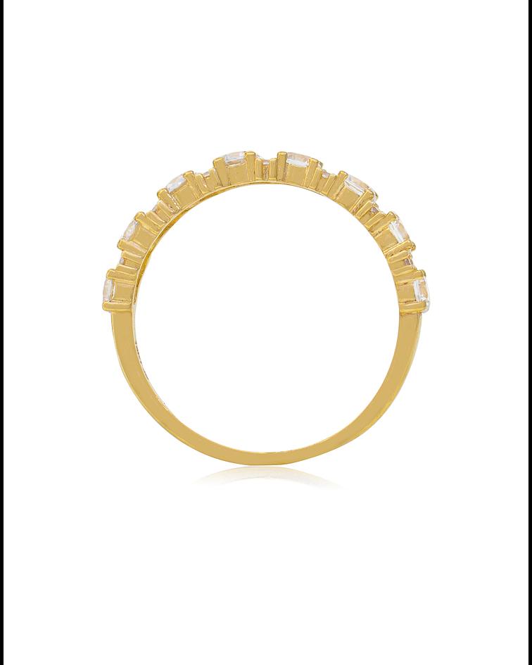 Anillo Oro Amarillo 18 kt Medio Cintillo Circón