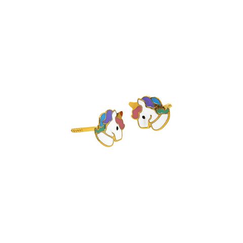 Aros Oro 18kt Unicornio Esmaltado
