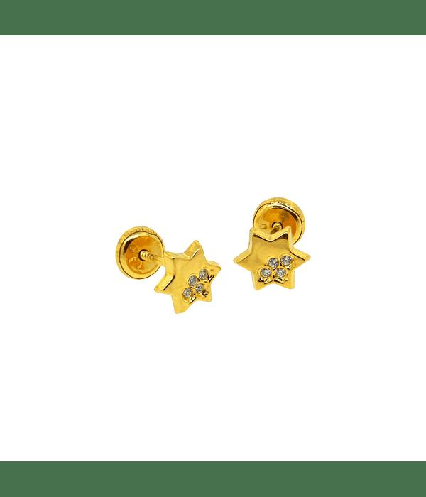 Aros Oro 18kt Con Estrella 8 Circones 1,0mm