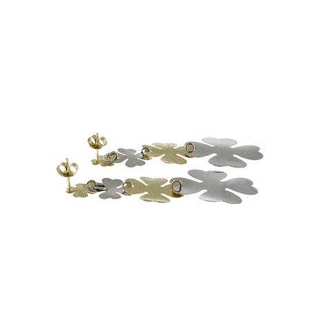 Aros De Plata Italiana 925 Bañados en Oro 18kt Flores Bicolor