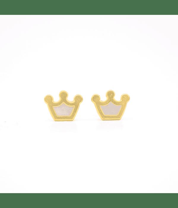 Aros Oro 18kt Corona con Nacar. Abridor