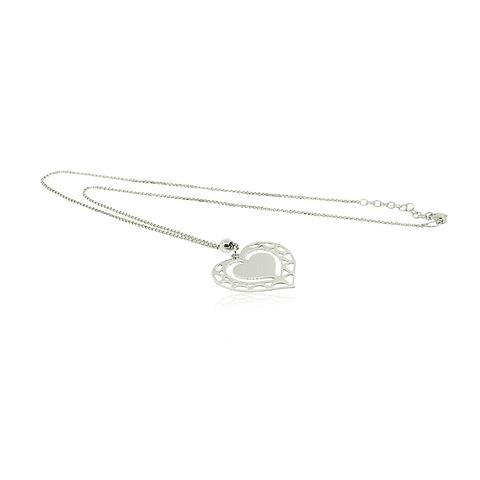 Collar 100% Plata Italiana 925 Doble Corazón