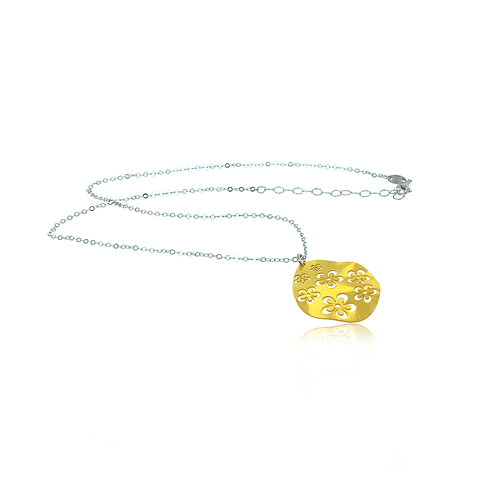 Collar Plata Italiana 925 Bañado en Oro 18kt Gota en Flor