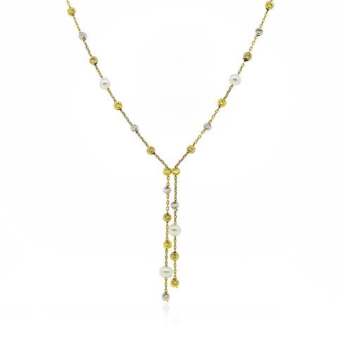 Collar de 100% Oro 18kt modelo Bolitas Tricolor