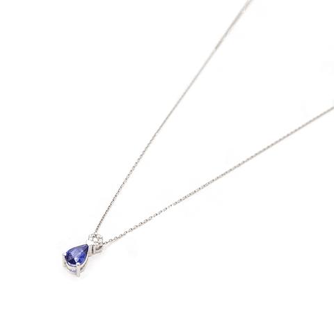 Collar de Diamantes en Oro 18kt brillantes y Zafiro Natural