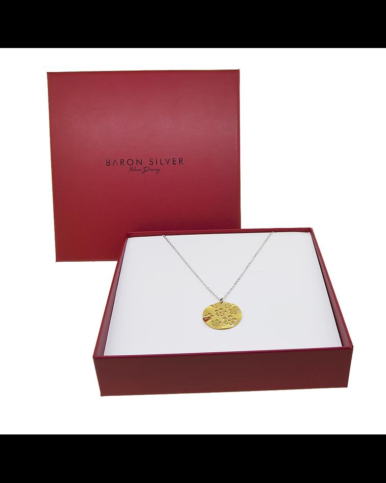 Collar Plata Italiana 925 Bañados en Oro 18kt Disco en Flor