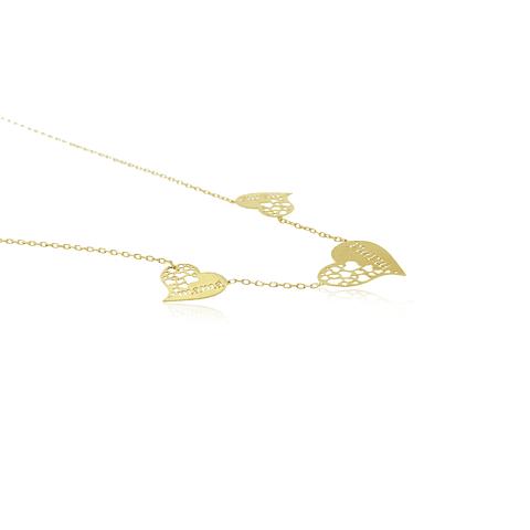 Collar Oro 18kt Corazones Mama