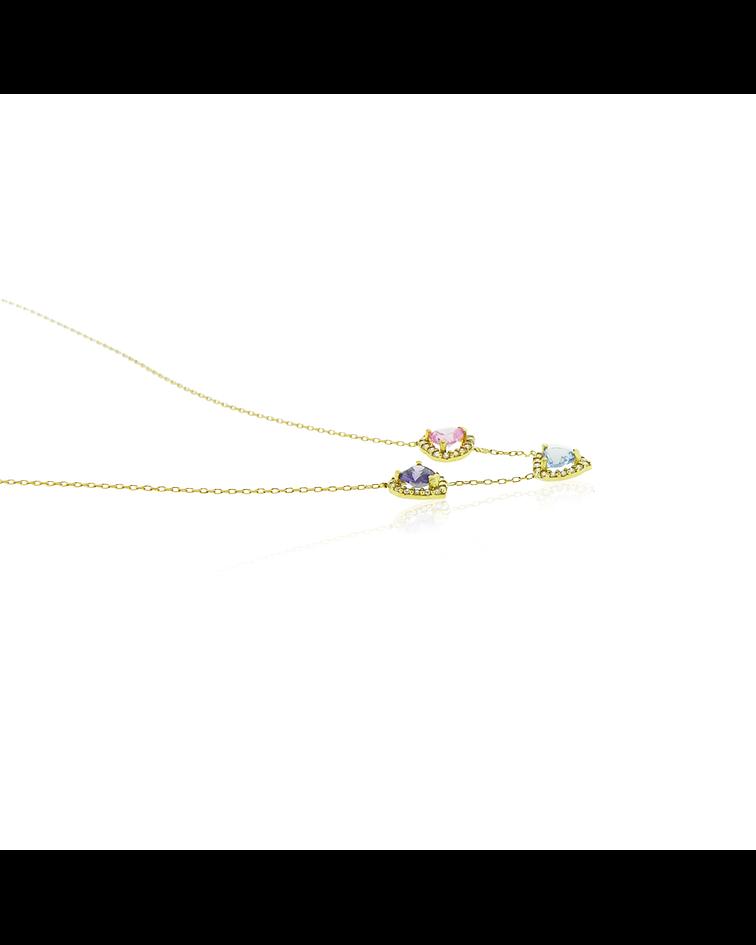 Collar Oro 18kt Corazón Rosa de Francia