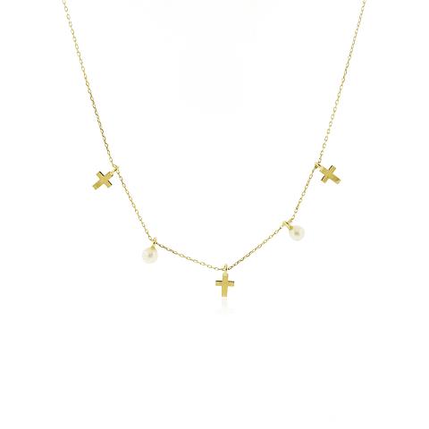Collar Oro 18kt Cruz y Perlas
