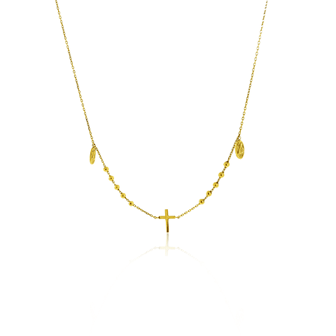 Collar Oro 18kt Cruz Medalla Virgen Maria