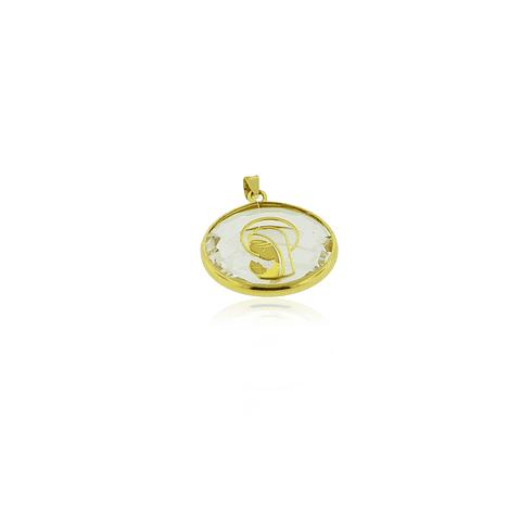 Colgante Oro 18kt Virgen Cristal