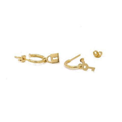 Aros de  Oro 18 kt Modelo Candado Llave