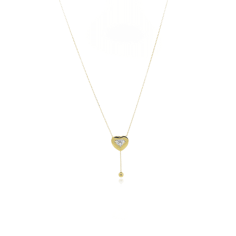 Collar Oro 18kt Corazón y Circones