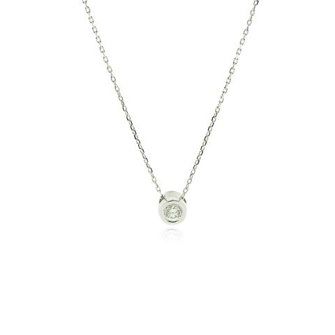 Collar Oro Blanco 18kt Diamantes Punto de Luz
