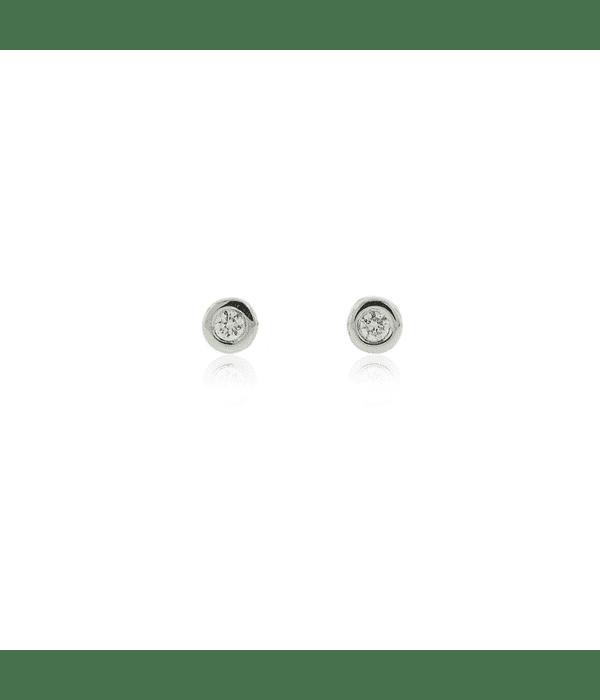 Aros Oro Blanco 18kt Diamantes Punto de Luz 6ptos