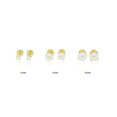 Aros Oro 18kt Perla Cultivada 6mm 4 Grifas