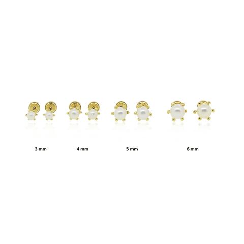 Aros Oro 18kt Perla Cultivada  canastillo 6 Grifas.