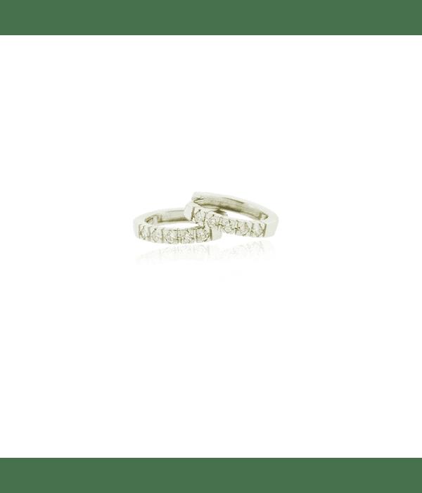 Aros Oro Blanco 18kt Diamantes Riel 16pts