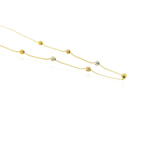 Collar Oro 18kt Bolitas Tricolor