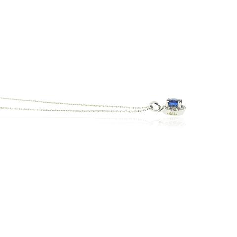 Collar Oro Blanco 18kt Diamantes y Zafiro