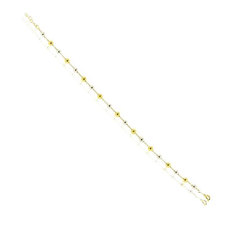 Pulsera Oro 18kt Bolitas Bicolor