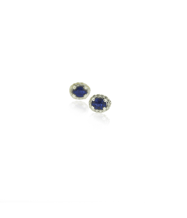 Aros Oro Blanco 18kt Diamantes y Zafiro