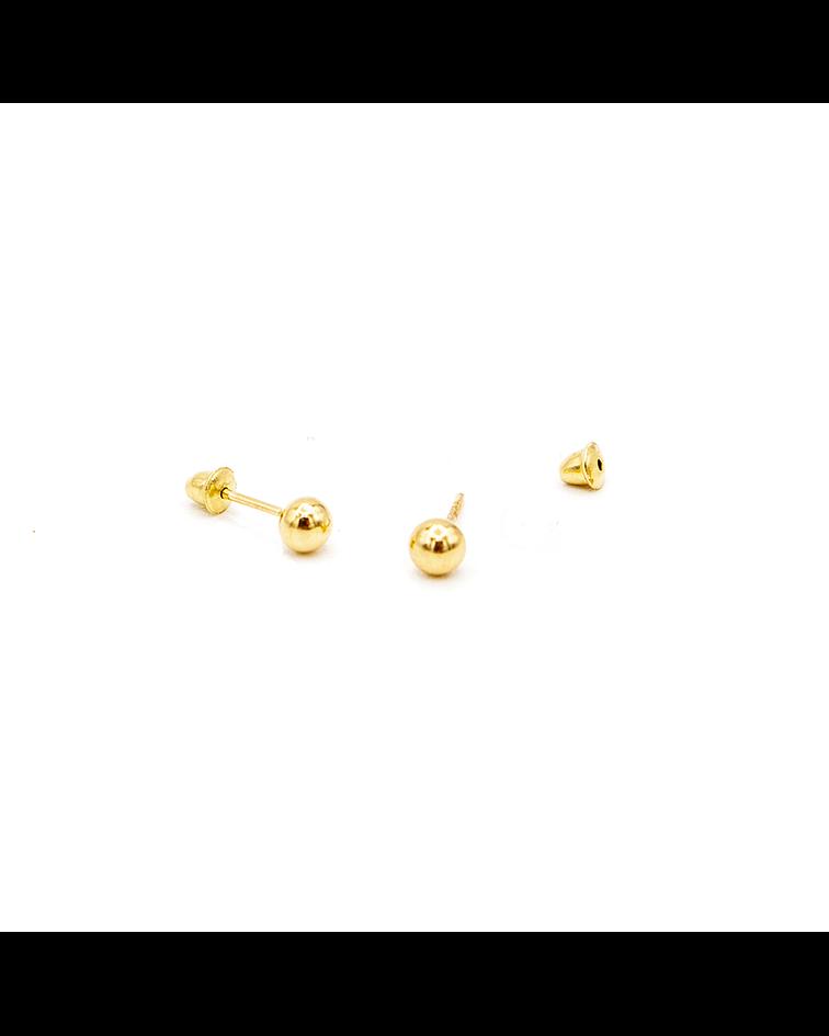 Aros de Oro 18 Kt Modelo Bolita Tornillo Presión