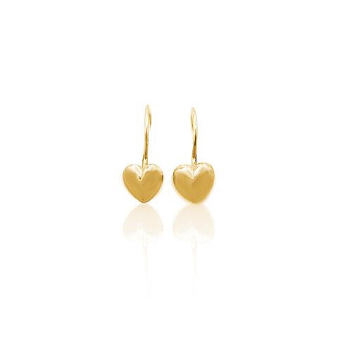 Aros de Oro 18 Kt Modelo Corazón Colgante 2,2 grs
